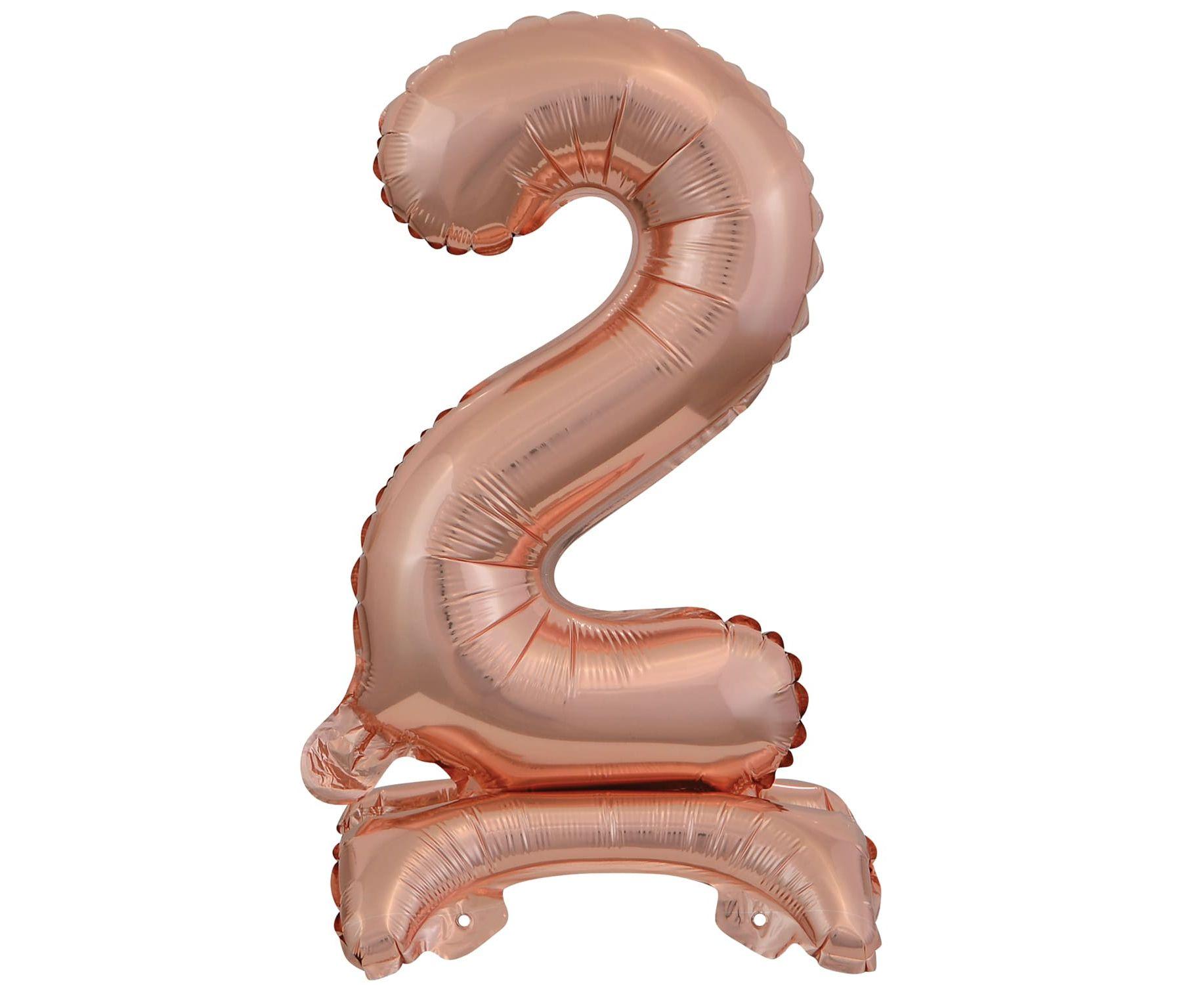 Μπαλόνι Foil Μίνι με Βάση Αριθμός Δύο Ροζ Χρυσό 38 εκ