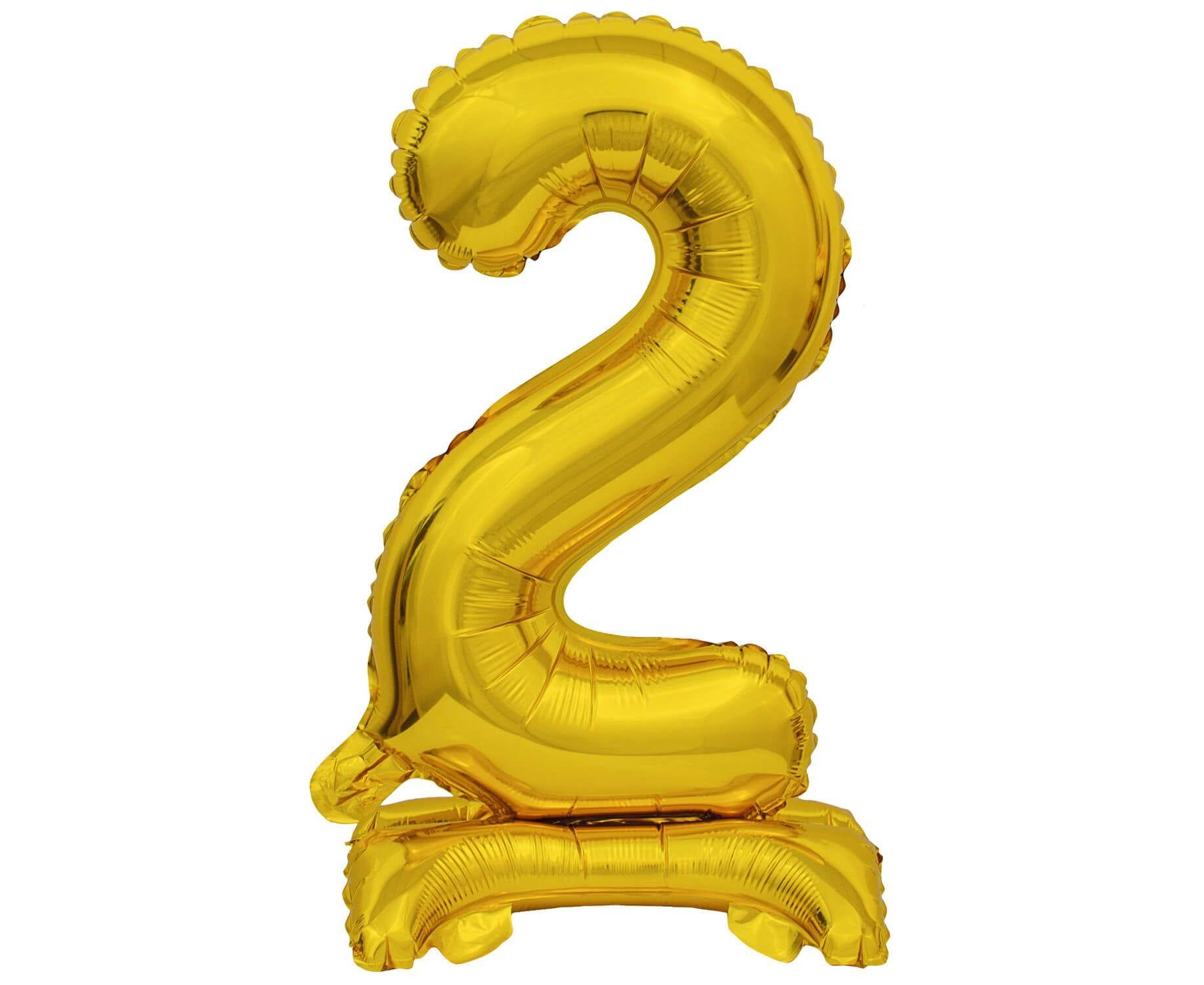 Μπαλόνι Foil Μίνι με Βάση Αριθμός Δύο Χρυσό 38εκ