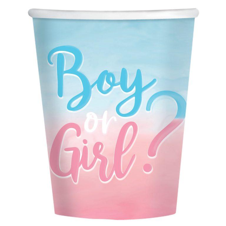 Χάρτινα Ποτήρια Boy or Girl 250ml – 8 Τεμάχια