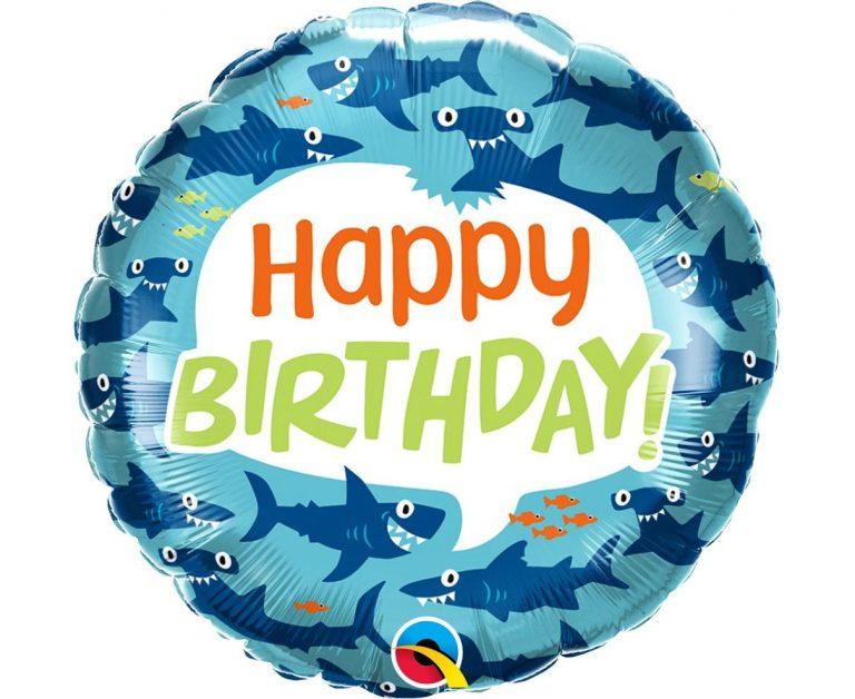 Μπαλόνι Foil Happy Birthday Shark 45εκ
