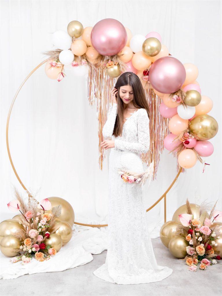 Μπαλόνια Latex Glossy Ροζ Χρυσά 30εκ – 50 Τεμάχια
