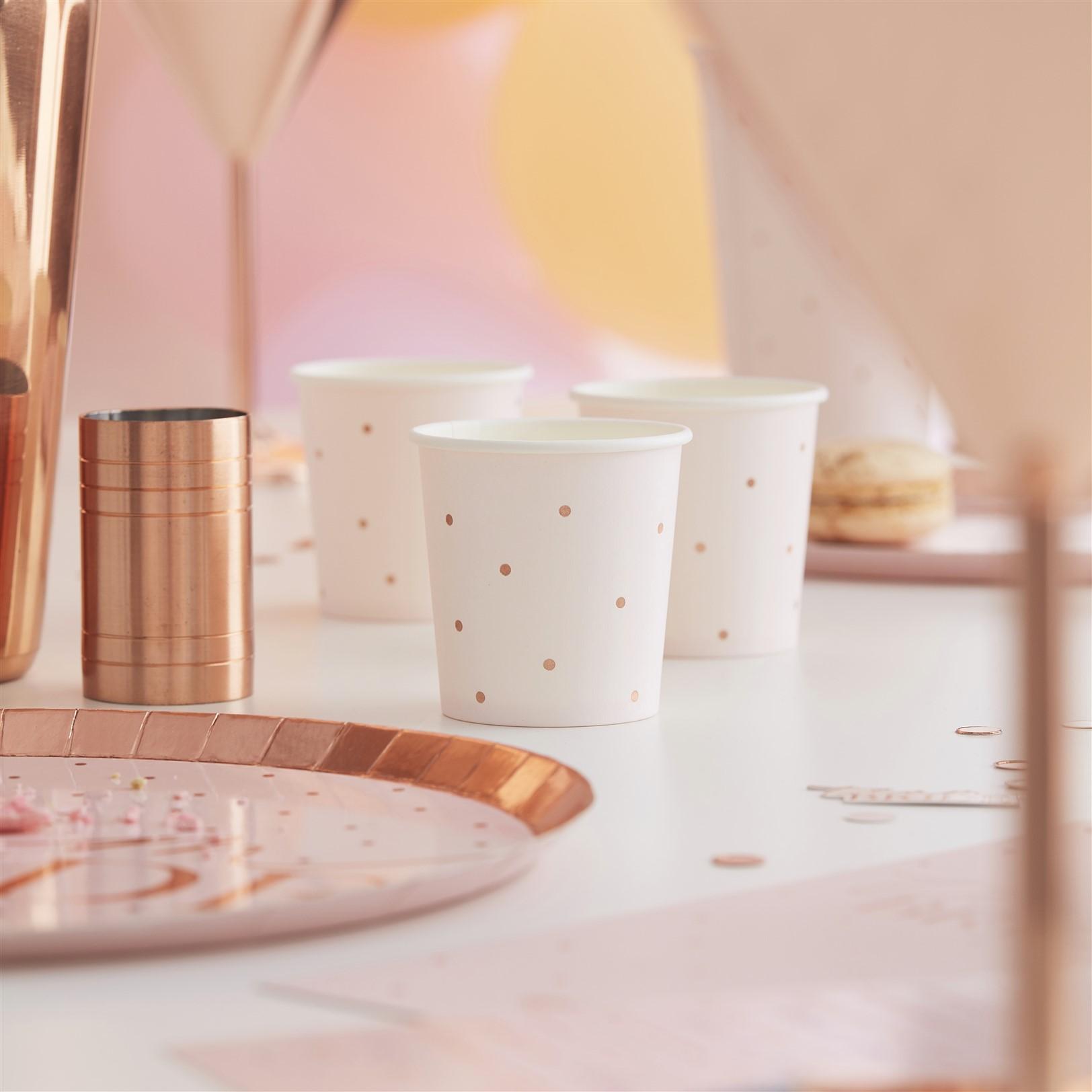 Χάρτινα Ποτήρια για Σφηνάκια Ροζ με Ροζ Χρυσά Πουά 118ml – 10 Τεμάχια