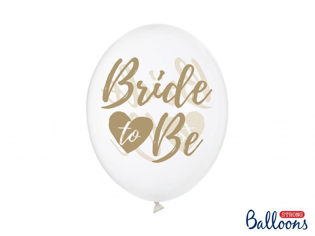 Διάφανα Μπαλόνια Latex Bride to Be Χρυσό – 6 Τεμάχια