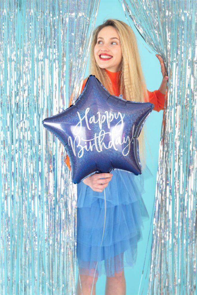 Μπαλόνι Foil Αστέρι Happy Birthday Μπλε Ιριδίζον 40εκ