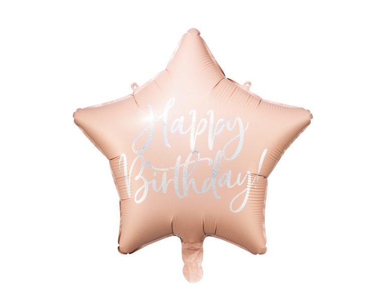Μπαλόνι Foil Αστέρι Happy Birthday Powder Pink 40εκ