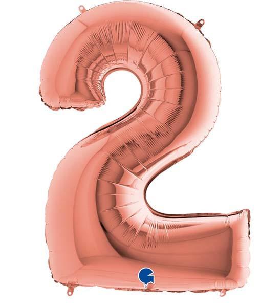Μπαλόνι Foil Ροζ Χρυσό Αριθμός Δύο 102εκ