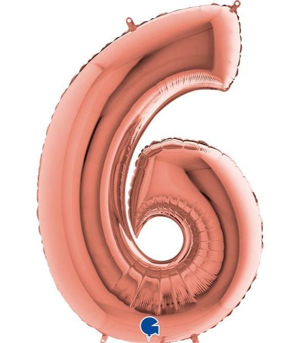 Μπαλόνι Foil Ροζ Χρυσό Αριθμός Έξι 66εκ