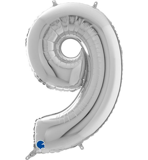 Μπαλόνι Foil Ασημί Αριθμός Εννέα 66εκ