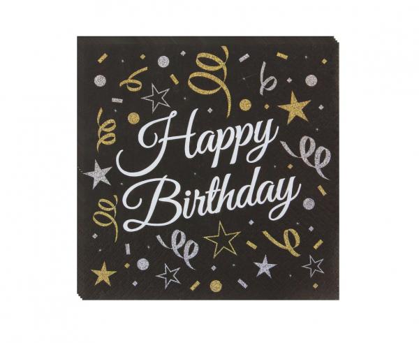 Χαρτοπετσέτες Happy Birthday Μαύρο & Χρυσό 33×33εκ – 20 Τεμάχια