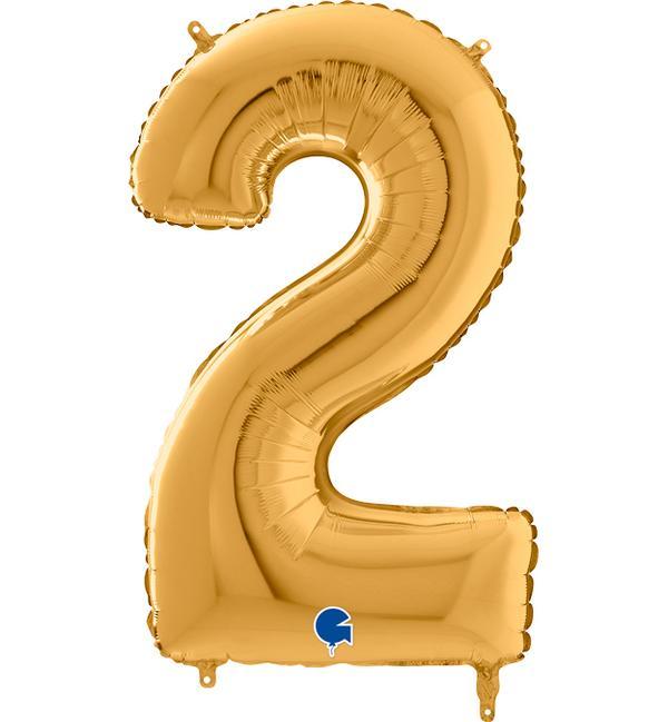 Μπαλόνι Foil Χρυσό Αριθμός Δύο 66εκ