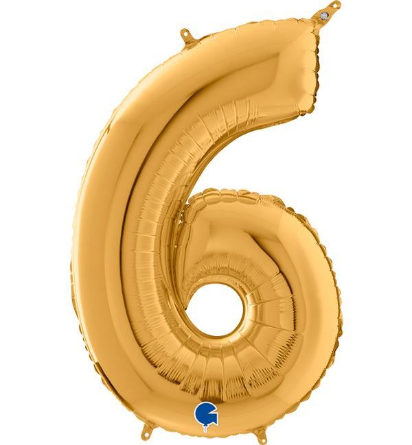 Μπαλόνι Foil Χρυσό Αριθμός Έξι 66εκ