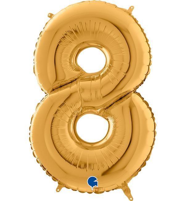 Μπαλόνι Foil Χρυσό Αριθμός Οκτώ 102εκ