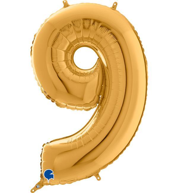 Μπαλόνι Foil Χρυσό Αριθμός Εννέα 66εκ
