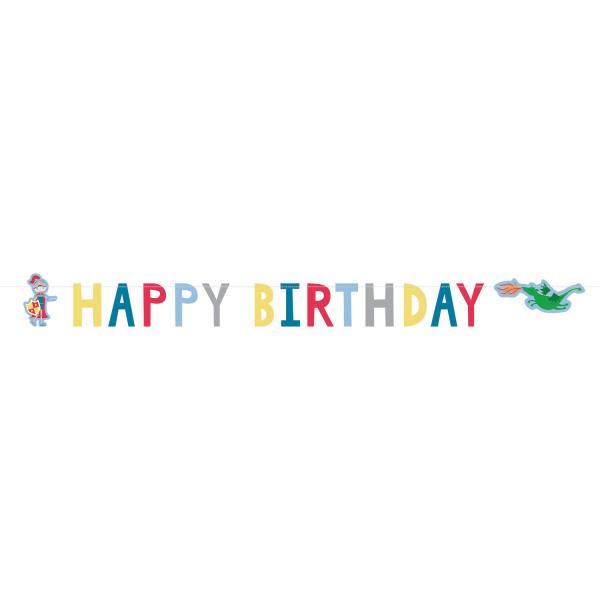 Χάρτινη Γιρλάντα Happy Birthday Ιππότης 160εκ