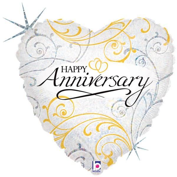 Μπαλόνι Foil Καρδιά Happy Anniversary 45εκ